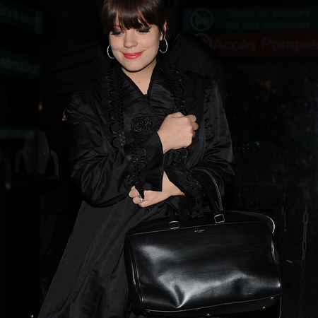 Lily Allen carries Saint Laurent Duffle handbag
