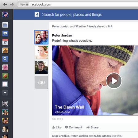 New Facebook news feed screen shot
