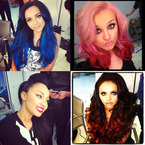 Little Mix show off bold new pink, red & blue hair