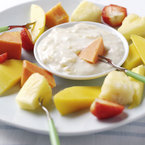 Tropical fruits with banana dip recipe