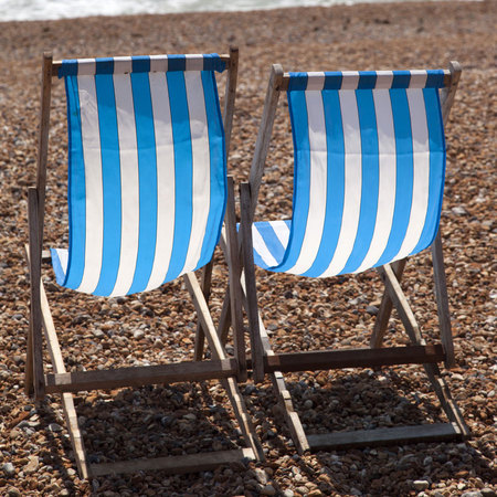 Deck chairs, British beach holiday