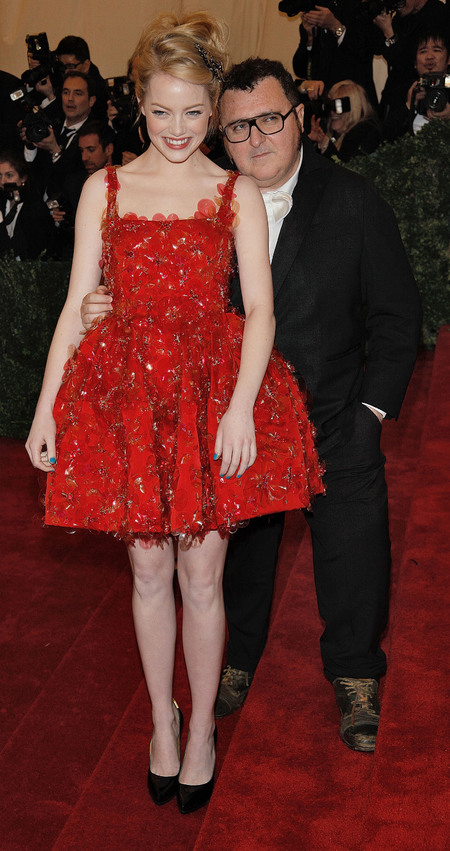 Red Lanvin dress at 2012 Met Ball