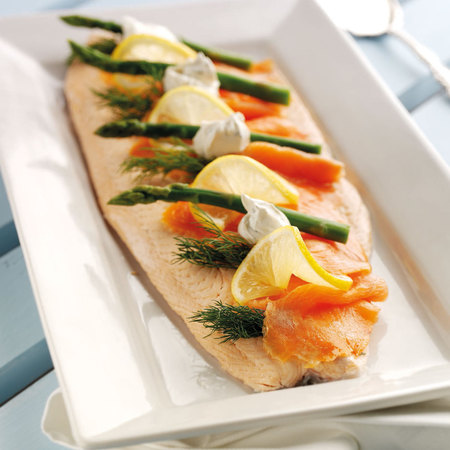 Poached Salmon with Lemon, Asparagus & Dill