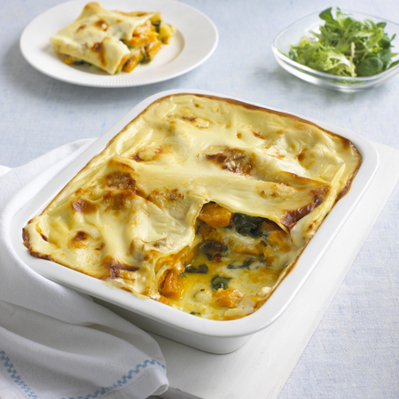 Pumpkin, spinach, and Gorgonzola lasagne