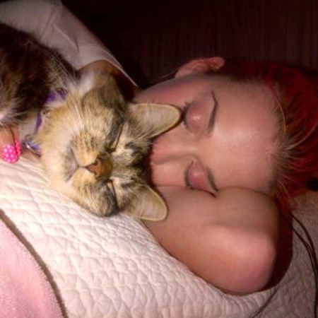 Katy Perry with her cat Kitty Purry