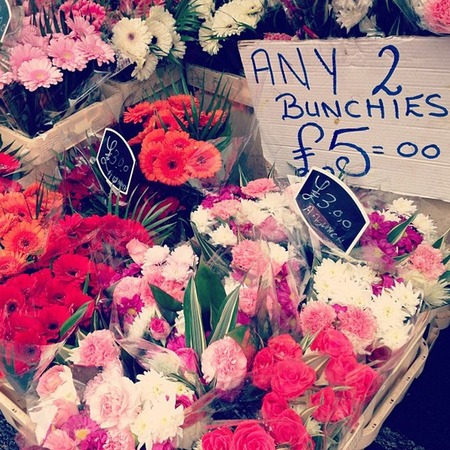 Kelly Brook visits Columbia Road flower market, London