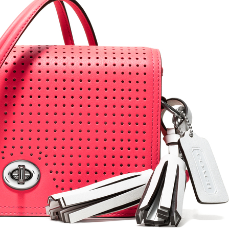 COACH PENNY HANDBAG in pink with metal tassle