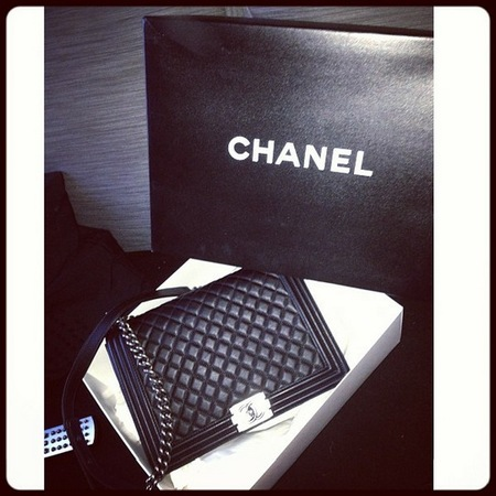 Rita Ora with Chanel SS13 BOY shoulder bag