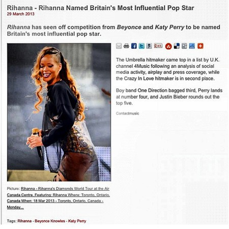 Rihanna hits back at Beyonce? Most influential pop star