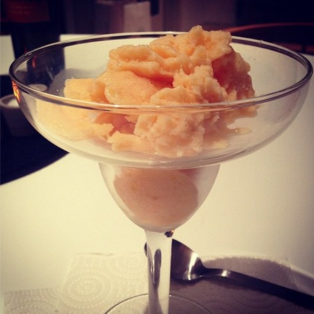 Homemade peach sorbet