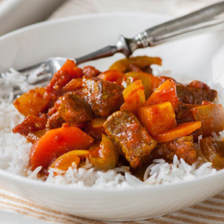 Tasty beef curry with rice
