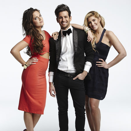 Ollie Locke, Binky Felstead and Cheska Hull