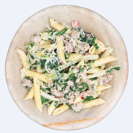 Patrick Drake's Superfood Kale And Tuscan Sausages with Penne
