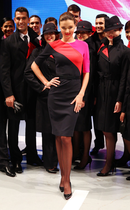 Miranda Kerr models new Qantas Airways flight uniform