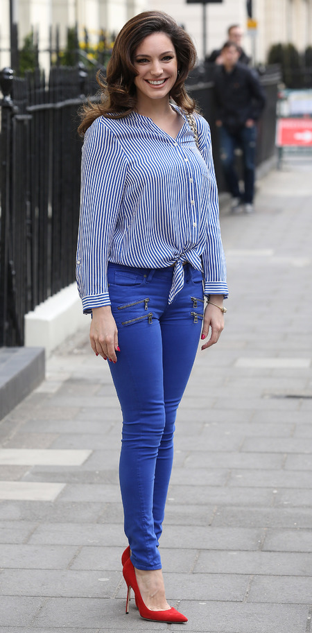 Kelly Brook wears blue jeans in London