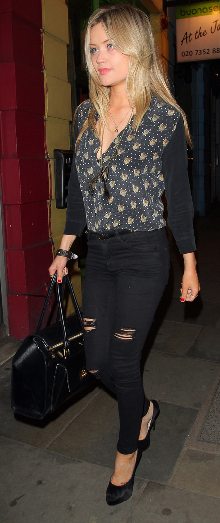 Laura Whitmore with BoBelle handbag