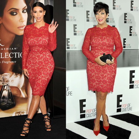 Kim Kardashian and Kris Jenner wear same Valentino lace dress