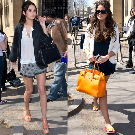 Lucy Watson and Alexandra Felstead AKA Binky with handbags