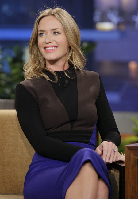 Emily Blunt wearing Victoria Beckham on the Tonight Show with Jay Leno