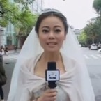 Reporter covers earthquake in her wedding dress