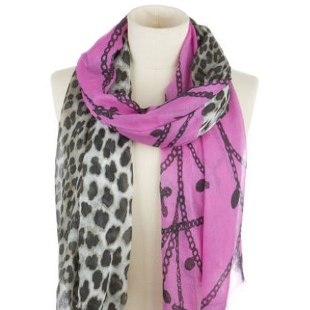 CODELLO CHAINES AND LEOPARD SCARF - DARK PINK