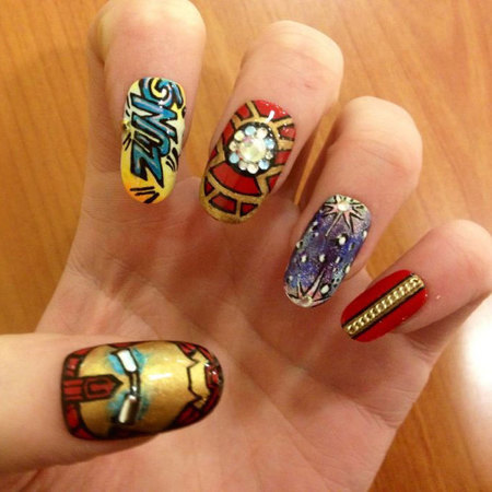Iron Man nail art by Grace Humphries