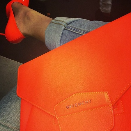 Neon orange Givenchy clutch bag