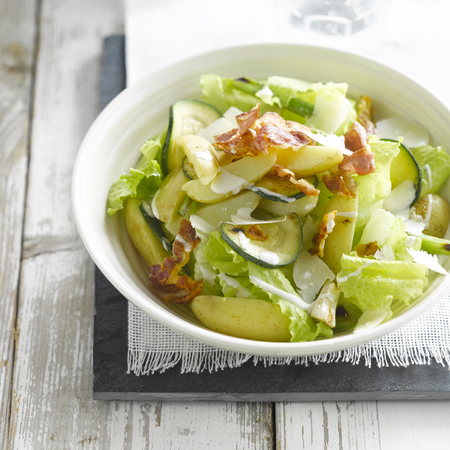 Salad Ideas: Caesar Potato Salad with sliced courgettes