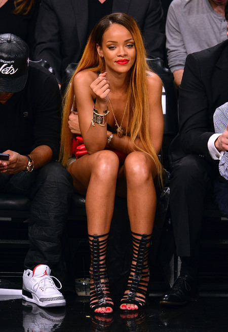 Rihanna front row in gladiator-style heels