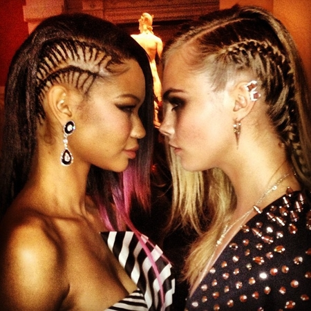 Cara Delevingne and Chanel Iman at the Met Ball - cornrows - corn rows