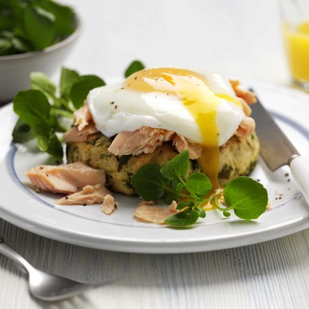 trout fish cakes with watercress and a poached egg