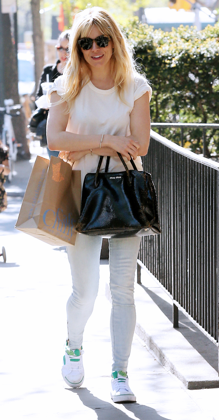 Sienna Miller with Miu Miu Craquelle bag