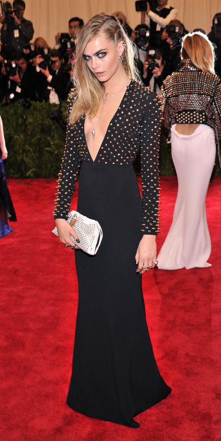 Cara Delevingne wears Burberry dress at Met Ball 2013