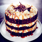 Chocolate and salted caramel layer cake