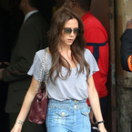 Victoria Beckham recycles flared jeans outfit in Paris