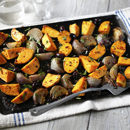Honey-Roasted Pink Onions With Sweet Potato Recipe