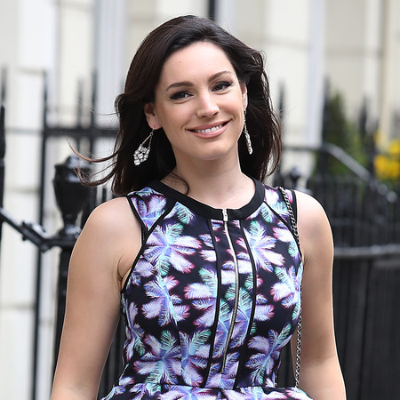Kelly Brook wears fitted floral dress to film Celebrity Juice