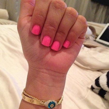 Kim Kardashian neon pink nails