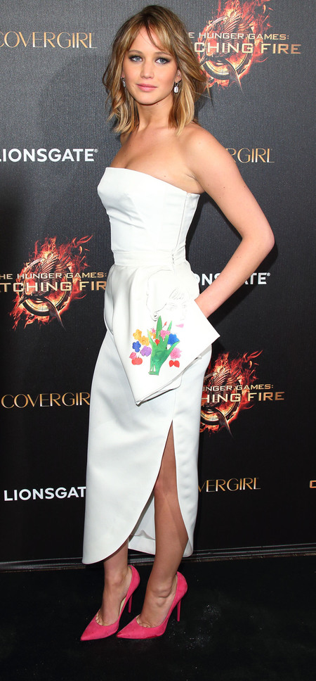 Jennifer Lawrence: White embroidered Dior dress