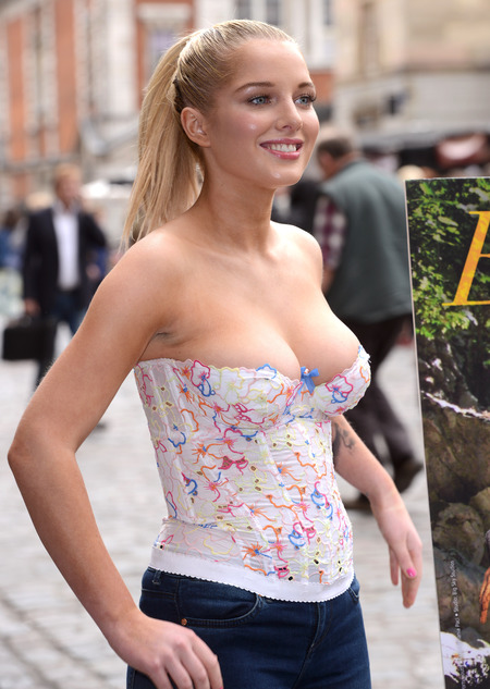 Helen Flanagan spills out of top at PETA photocall