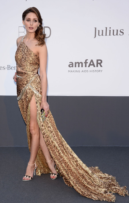 Olivia Palermo's leopard print flowing gown