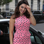 Kelly Brook rocks pink peplum dress for Lorraine