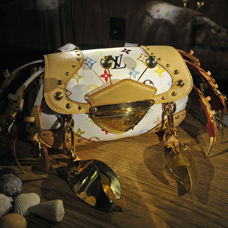 Crab made from Louis Vuitton handbags