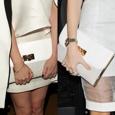 Laura White more and Millie Mackintosh carry white and grey Lamb 1887 Audrey clutch