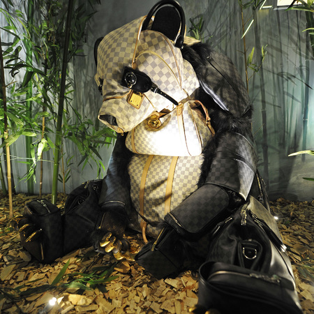 Panda made from Louis Vuitton handbags