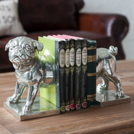 Pug dog book ends