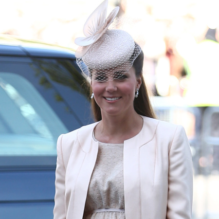 Pregnant Kate Middleton attends Queen's Coronation Anniversary in cream Jenny Packham