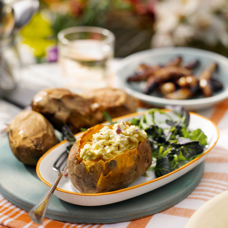 Sweet potato and goat's cheese side dish