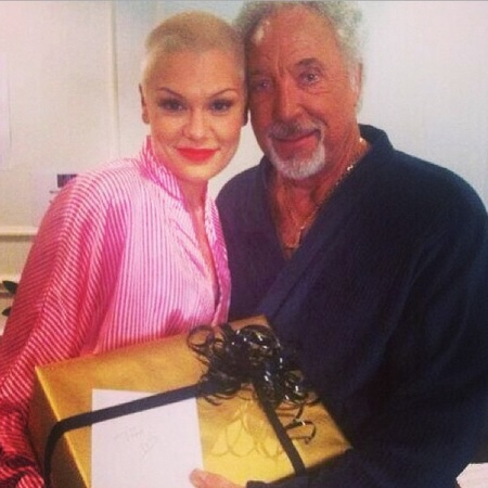 Tom Jones and Jessie J in dressing gowns at The Voice UK