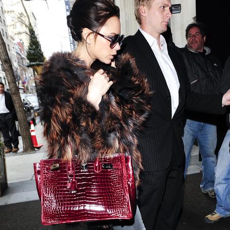 Victoria Beckham's red croc Birkin bag